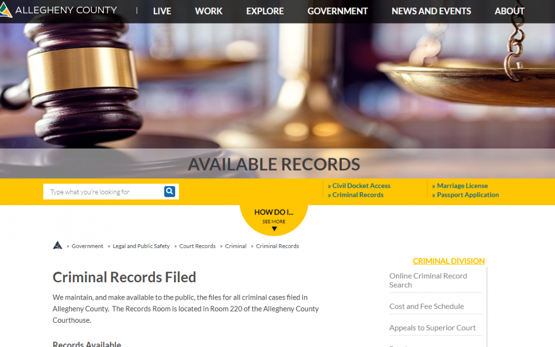 Allegheny County Criminal Records