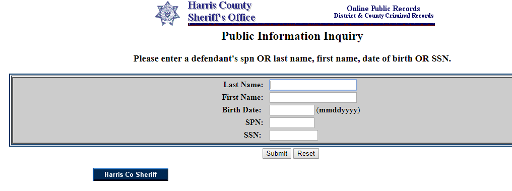 Harris County Arrest Records