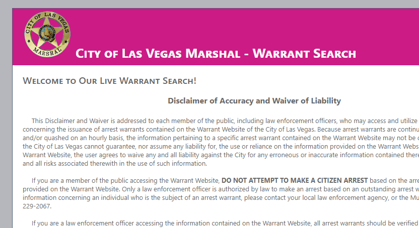 Las Vegas Warrant Search