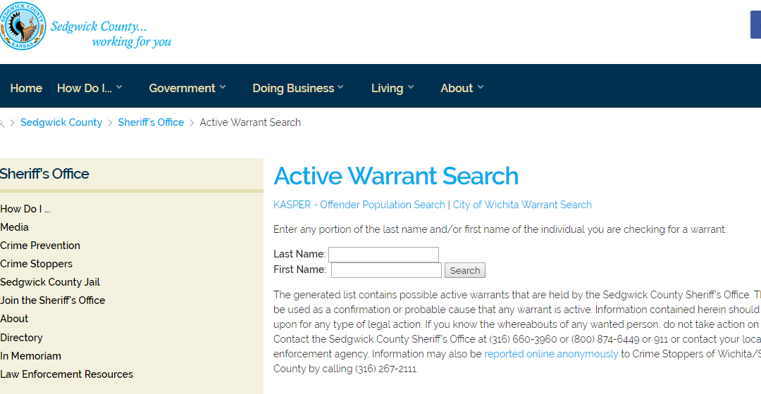 Sedgwick County Warrant Search
