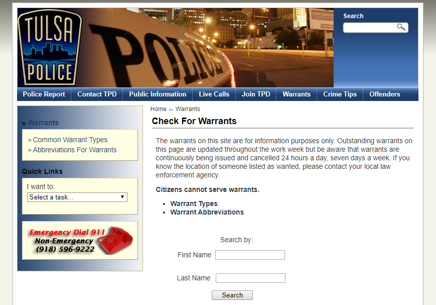 Tulsa Warrants
