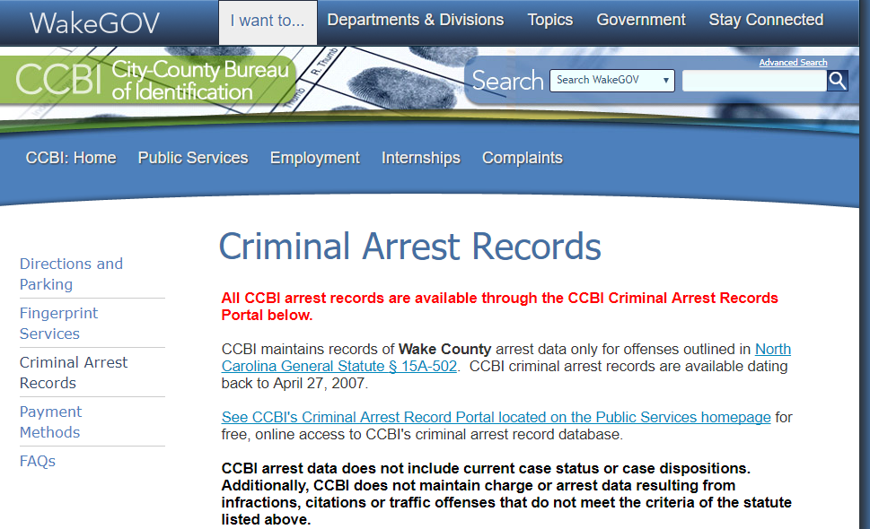 Wake County Arrest Records