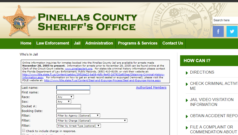 Who's in Jail Pinellas County