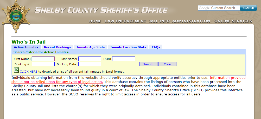 Who's in Jail Shelby County
