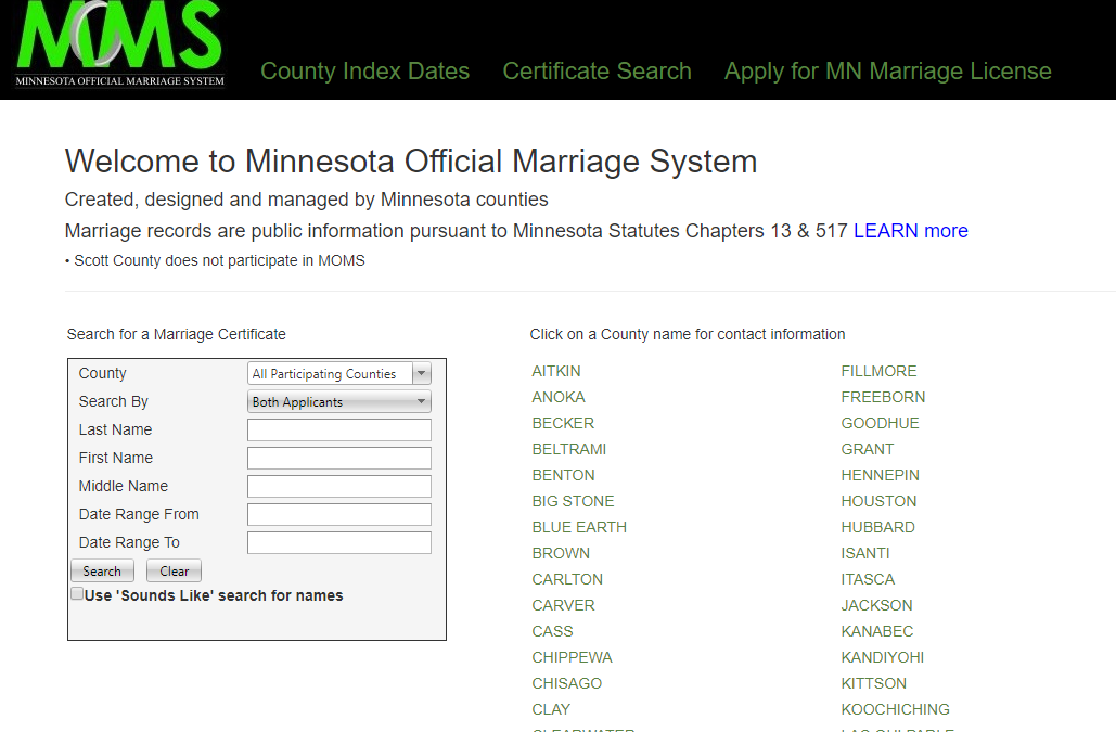 Minnesota Marriage Records