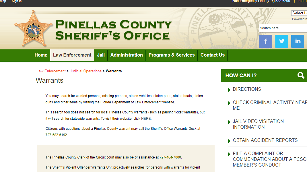 Pinellas County Warrants