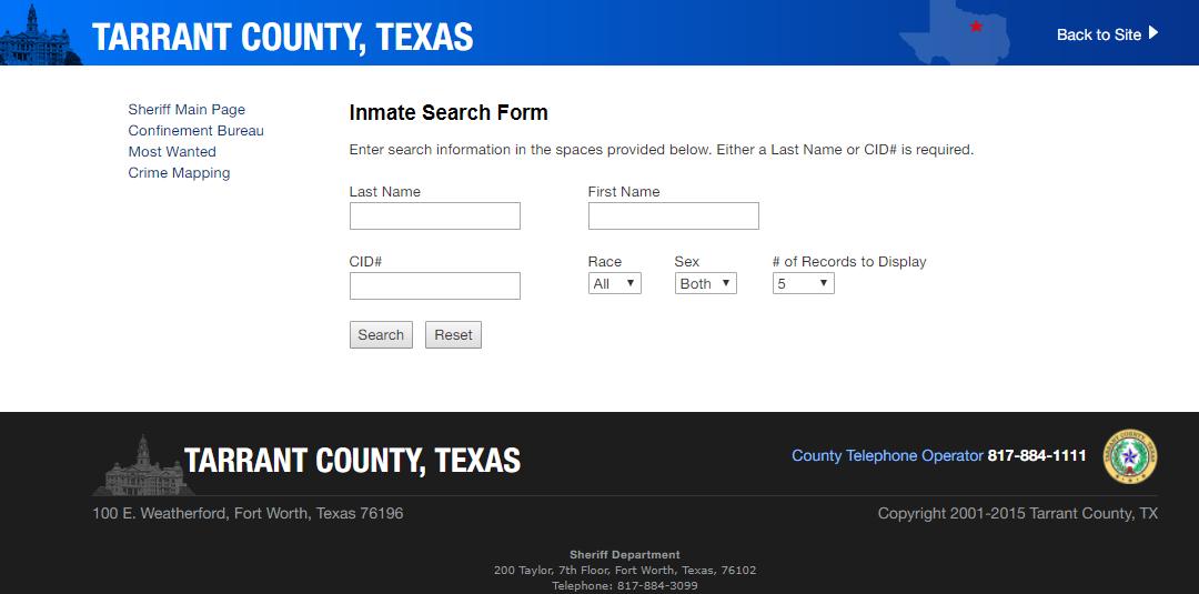 Tarrant County Arrest Records