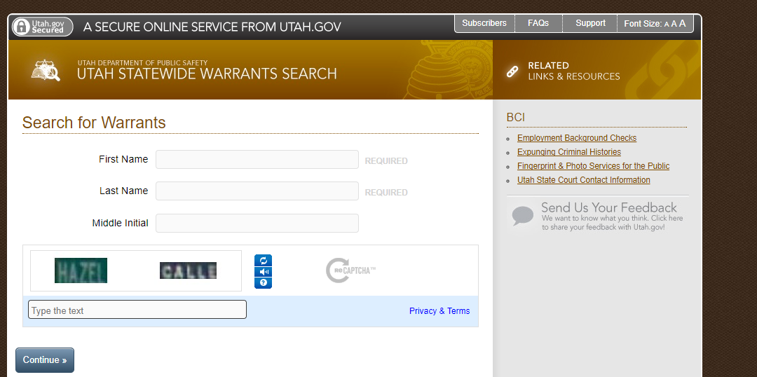 Utah Statewide Warrant Search
