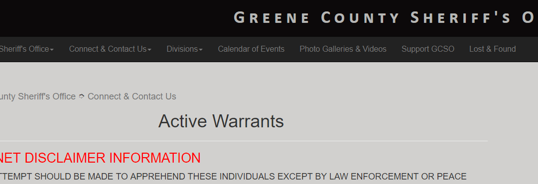 Perfect Arrest Warrants. Greene County Warrants