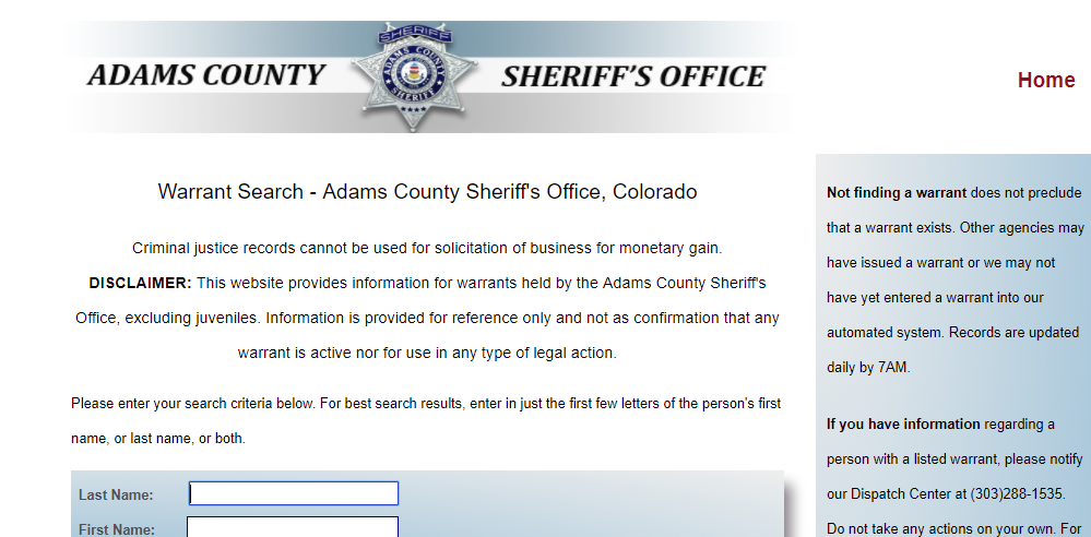 Adams County Warrant Search