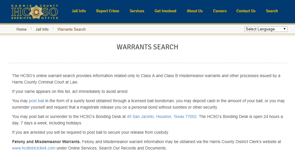 Harris County Warrant Search