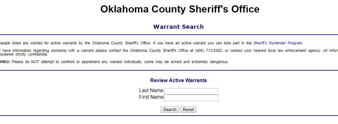 Oklahoma County Warrant Search Check For Outstanding