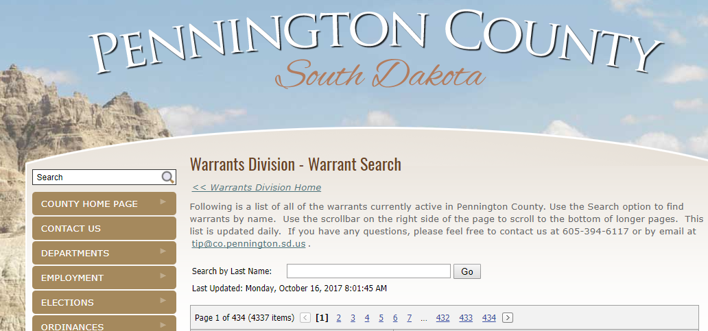 Pennington County Warrants