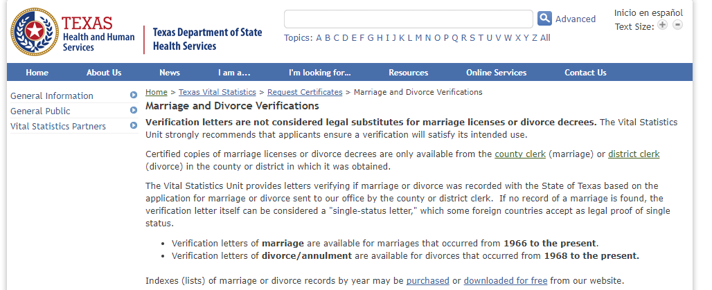 texas marriage public records free