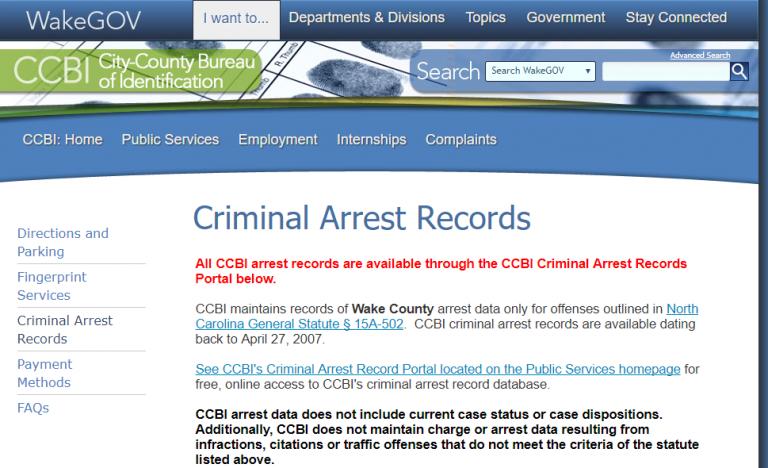 Wake County Arrest Records