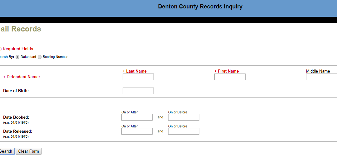 denton county jail record search by defendant