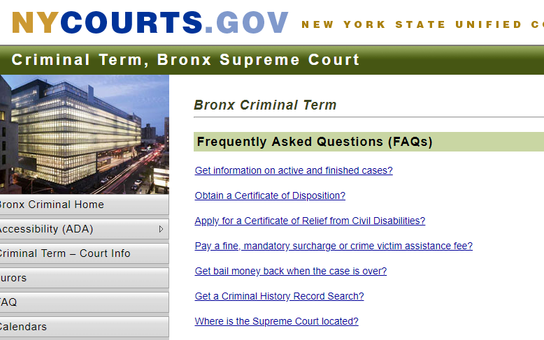 Bronx New York Criminal Records