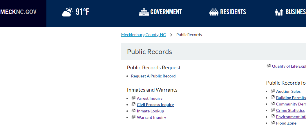 Mecklenburg County North Carolina Criminal Records