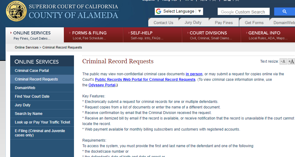 Alameda County California Criminal Records