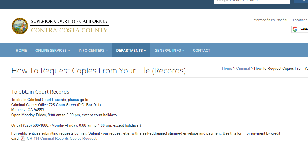 Contra Costa County California Criminal Records