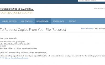 Contra Costa County California Criminal Records