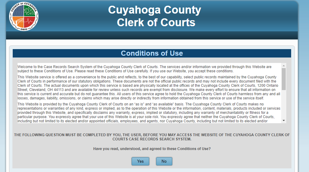 cuyahoga county ohio court record search