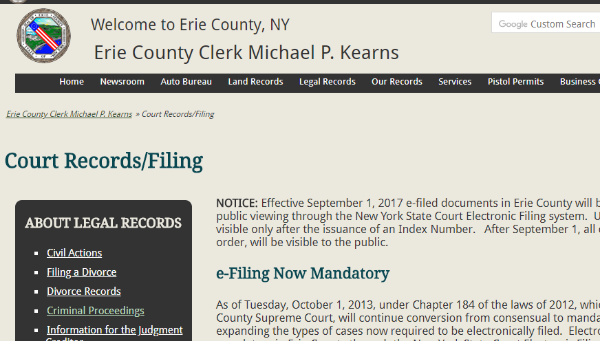 Erie County New York Criminal Records