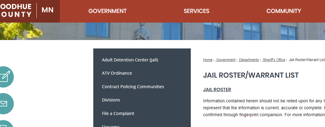 Goodhue County Jail Roster