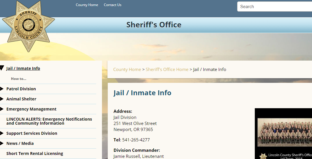 Lincoln County Jail Roster Oregon Inmate Search Mugshots