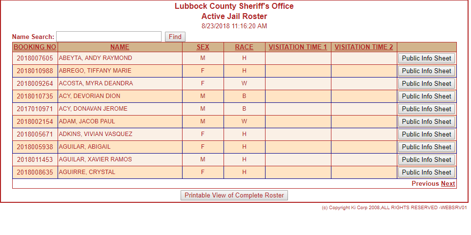 Lubbock County Jail Roster