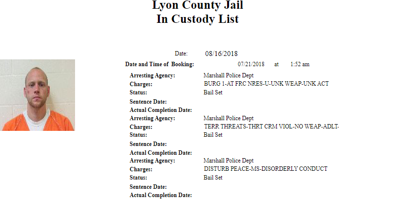 Lyon County Jail Roster