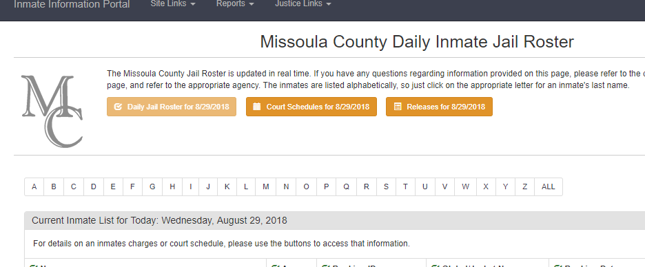Missoula County Jail Roster
