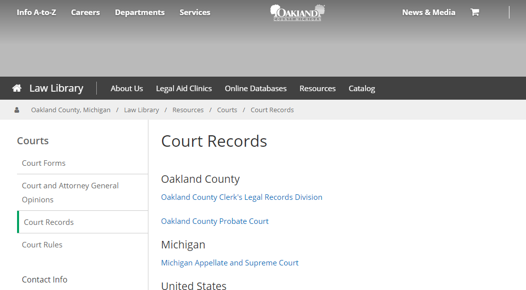 Oakland County Michigan Criminal Records