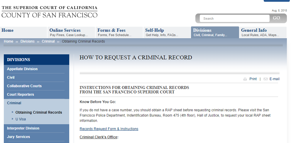 San Francisco County California Criminal Records