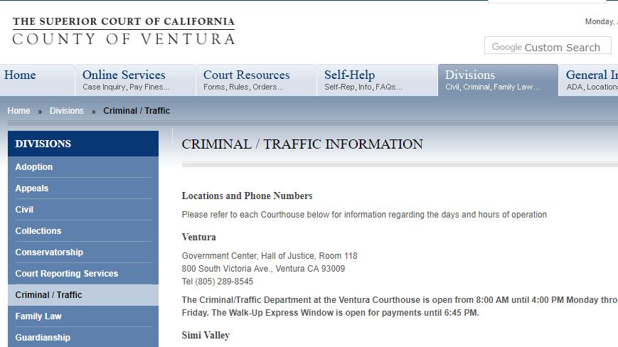 Ventura County California Criminal Records