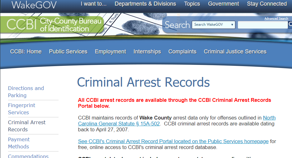 Wake County North Carolina Criminal Records