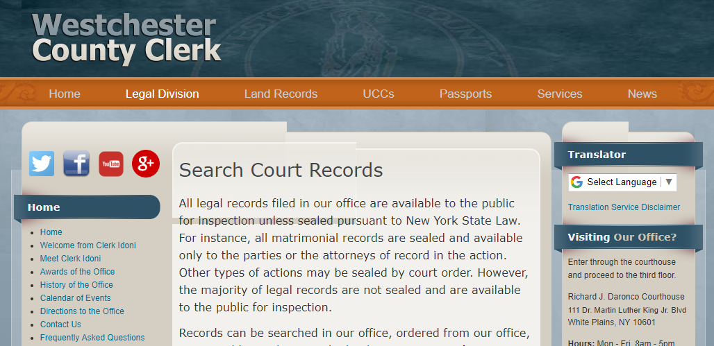 Westchester County New York Criminal Records